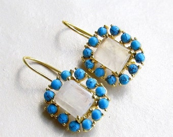 ON SALE 20% Natural Moonstone Cluster Earrings with Turquoise, White and Blue Delicate Dangle Earrings from Enhara Jewels