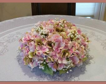 Pink Hydrangea Arrangement,  Artificial Flower Arrangement, Spring Floral Centerpiece