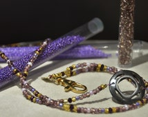 Beaded NA Badge holder, Purple seed beads and bone service symbol from Nepal, Narcotics Anonymous Lanyard Crystal beads,