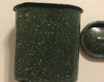 Enamel Canister w/ Lid Vintage Green Speckled