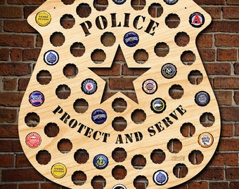 Police Man Badge Beer Cap Map - Engravable - Police Officer Gifts, Cop Gifts for Graduation, Retirement, Law Enforcement Gifts for Men