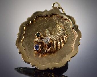 14K 0.10 Ctw Diamond Gem Thanksgiving Cornucopia Charm/Pendant Yellow Gold