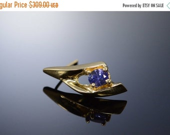1 Day Sale 14K 0.40 Ctw Tanzanite Scallop Earrings Yellow Gold