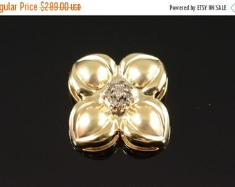 ON SALE 14K 0.16 Ctw Cognac Diamond Floral Pendant Yellow Gold