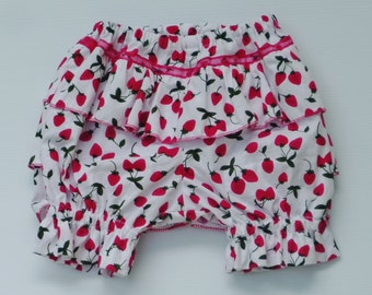 "Red strawberry bloomers, Girls clothing, strawberry  bloomers, size3-6 months, ""READY TO SHIP"""