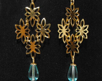 Heralds of Spring with Glass Drop: Gold Link Earrings with Light Aqua Glass Teardrop