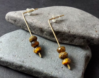 Tiger Eye | Brass | Earrings