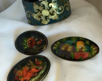 Vintage Eastern European handmade cuff and brooches