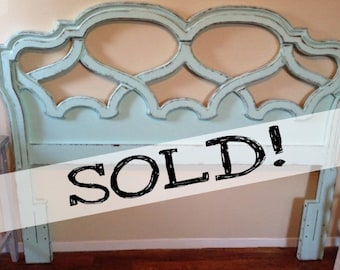 SOLD!!! Seaside Blue Shabby Chic Cottage Home Full / Queen Headboard * FREE NYC Delivery!