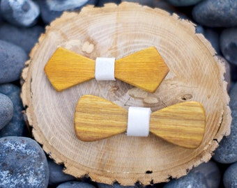 Canary Wood Hair Bow (2-pack) - 4 Colors - White, Green, Maroon, Red - Hair Accessories, Clip, Up-do, Birthday, Prom, Photo Prop, Pretty