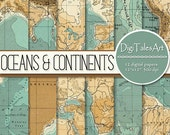 "Printable vintage map digital paper ""Oceans&Continents"" with Americas, Europe, Asia, Africa, Oceans, scrapbooking, nautical patterns"