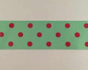 1.5 Inch Mint and shocking pink dippy dots ribbon