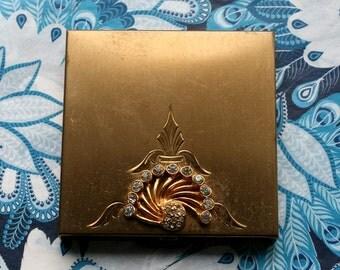Vintage Volupte USA Gold Tone Square Powder Compact Crystal Diamante 1960s Heavy