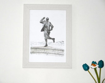 Eric Morecambe Statue, Morecambe. Framed print (pen, ink and watercolour)