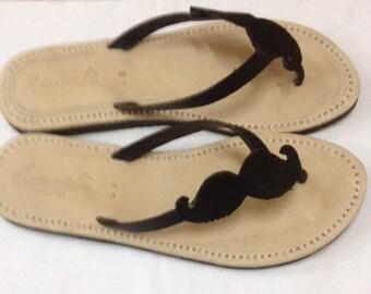 Movember cause! Mustache sandals flip flops handmade leather