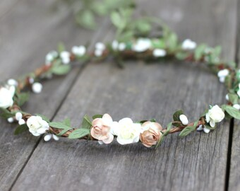 Ivory Wedding Flower Crown, Flower Halo,  Natural Wedding, Garland Hair Wreath, Ivory Floral Crown, Bridal Flower Halo, Flower Girl Crown