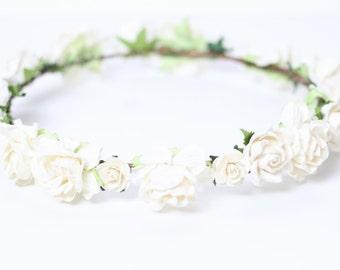 White Bridal Flower Crown, Floral Crown, White Flower Crown, Wedding, Floral Crown, Rose Floral Headpiece, Girls Flower Crown, Ivory Crown