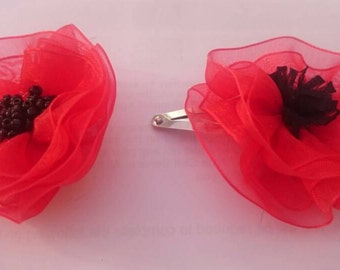 Organza Poppy Brooch/hair pin