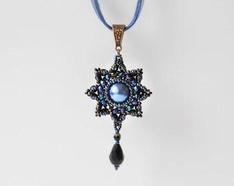 Dark blue necklace, beadwork pendant, party necklace, bridesmaids necklace, elegant necklace, office jewelry, renaissance jewelry