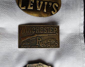 Three Bronze Belt Buckles - Set