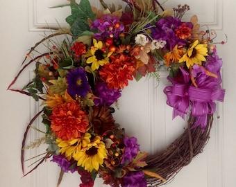 Fall Wreath, Autumn Wreath, Jeweled Toned Wreath, Front Door Wreath, All Seasons Wreath, Elegant Wreath,  Thanksgiving Wreath