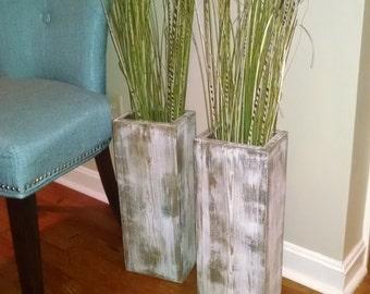"Special set: 24""x2 "" tall Wide Rustic wood floor vases."
