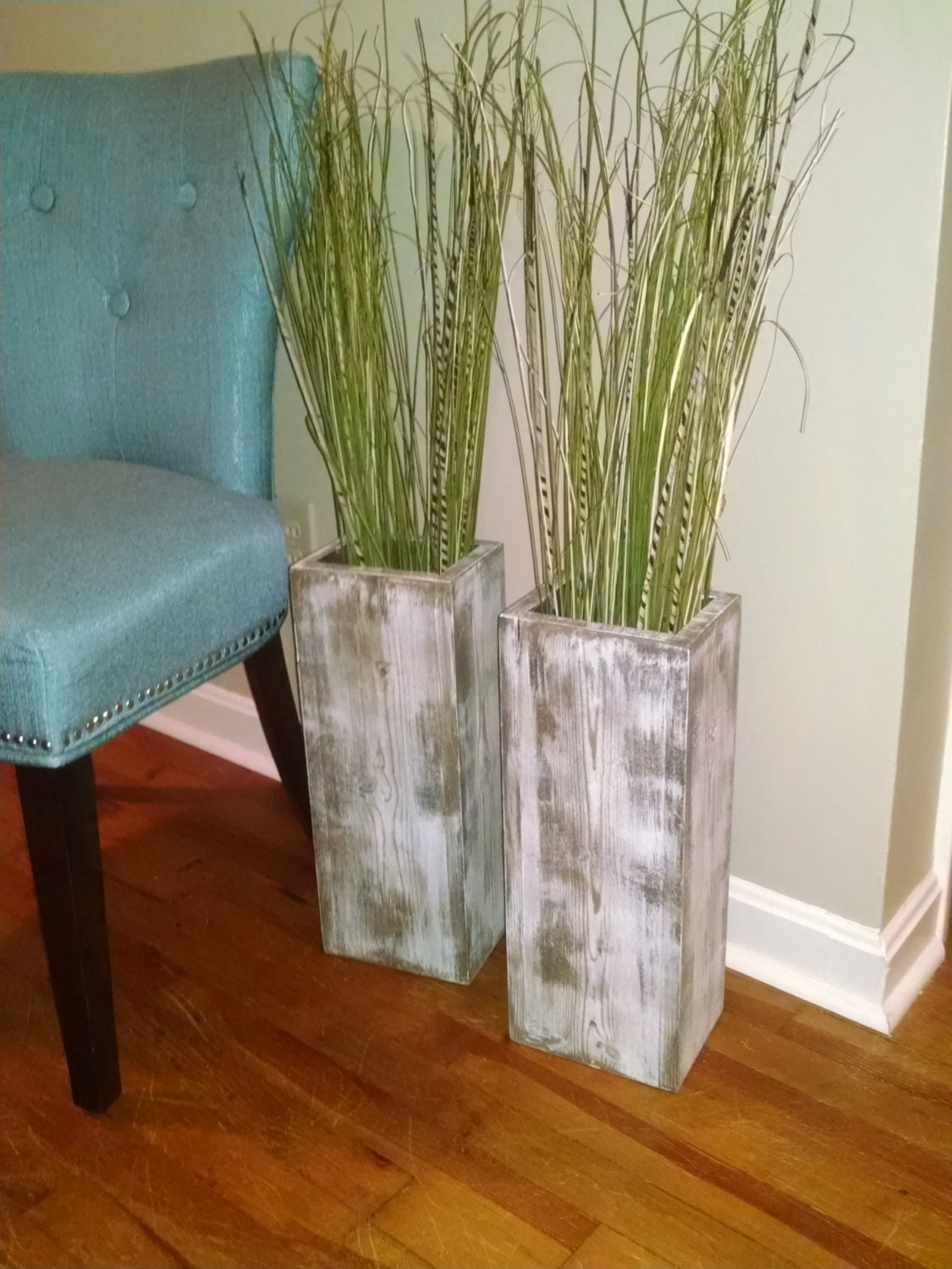 Single 24h Wide Rustic Wood Floor Vases Distressed