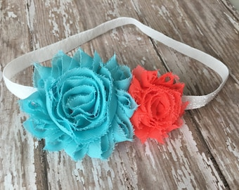 Shabby flower headband on glitter elastic