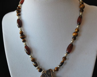 Ammonite and Golden Tiger Eye Necklace