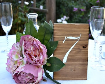 Wedding Table Numbers Handpainted, Rustic Wedding Sign, Wood Table Numbers, Rustic Wedding Decor, Centerpiece Decor, Hand lettering number.