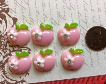 LAST Set of 6 Delicious Resin Pink Apples with Flower and Rhinestone