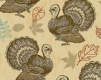 Gatherings Thanksgiving Turkeys   Holiday  Cotton Fabric  Newcastle BTY