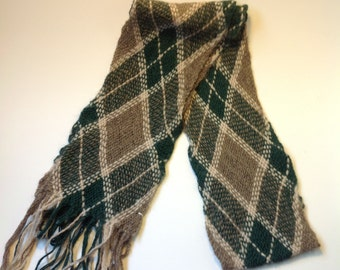 100% Alpaca Green and Brown Woven Scarf