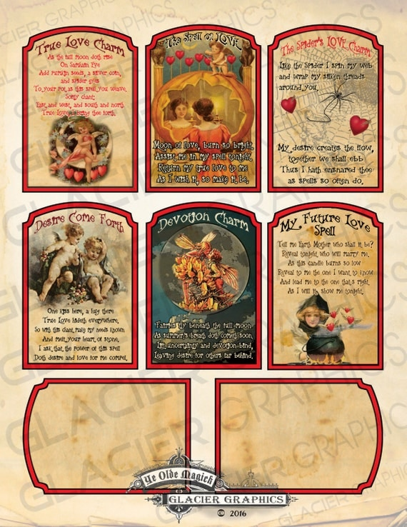 Witch Spell Cards Valentine Love Spell Card Digital Download Printable  Collage Sheet Scrapbook Image ATC Cards Halloween Witch Tag