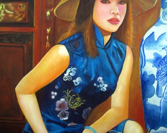"""Lady and vase , Oil painting on canvas size:31.6"""" x 39.5""""(80 x 100 cm.)"""