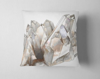 Smokey grey quartz crystal throw pillow