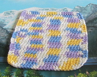 Hand crochet cotton dish cloth  8 by 8 CDC 061