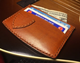 Guitar Pick Card Wallet / Full Grain Leather Wallet