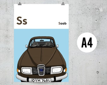 S is for Saab - A4 Print
