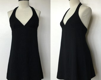 1970's Black Knit Halter Babydoll Mini Dress