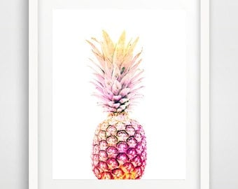 Pink pineapple, wall art, pineapple print, watercolor prints, ananas, wall prints, pineapple decor, art posters, tropical fruit, pineapple