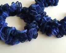 Crochet Sashay Ruffle Scarf, Blue Ombre Scarf, Sashay Yarn, Spiral