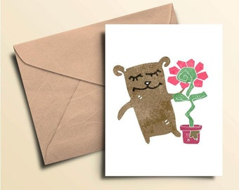 Bear & Flower Note Cards - Set of 10 With Envelopes
