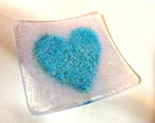"AQUA HEART Spoon Rest 3"" Tea Bag Spoon Holder Fused Glass HB1"