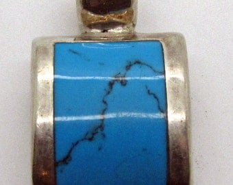 Vintage Turquoise Sterling Silver Slider Pendant Mexico 925
