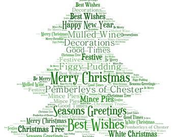 Personalised Word Art / Word Cloud - Christmas Tree - Digital JPEG