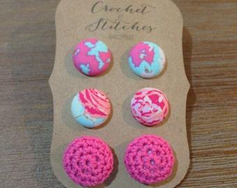 Button Earrings ~ set of three ~ crochet earring