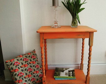 Orange and turquoise two-tone barley twist table, occasional table, coffee table, entryway, shabbychic, distressed