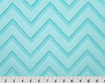 Light Blue Chevron Minky from Shannon Fabrics > Embossed Chevron Cuddle ® Marina < Chevron Embossed  by the Yard