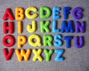 Stuffed Felt Alphabet Felt English alphabet, Felt Letters Colorful, Alphabet, Educational Toy, Handmade Alphabet, Felt Magnet Letters
